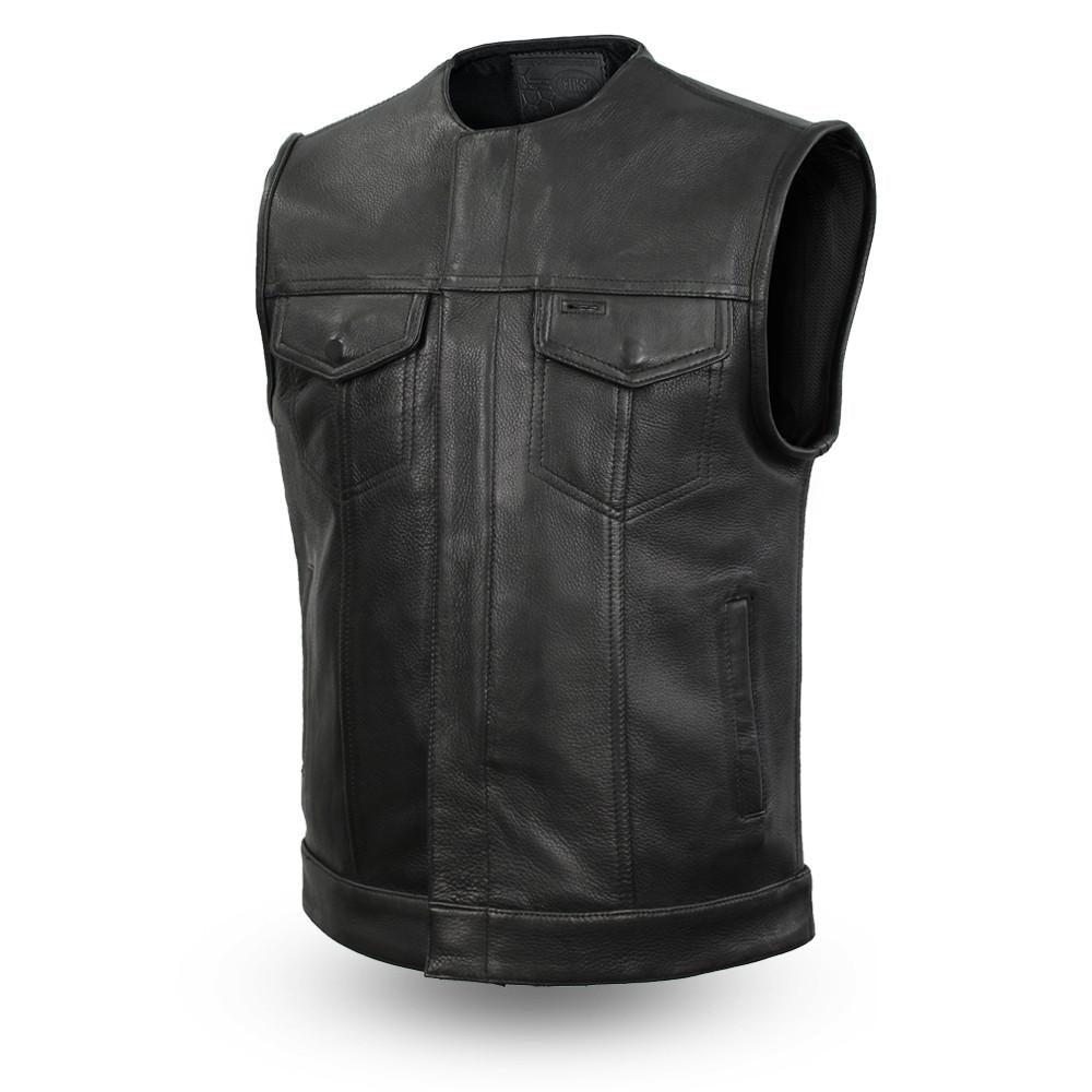 Mens Motorcycle Platinum Thick Leather Collarless Son Of Anarcy Gunpocket Vest - HighwayLeather
