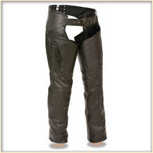 Black Wing hip hugger women leather chap - HighwayLeather