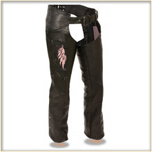 Pink Wing hip hugger women leather chap - highwayleather