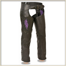 Purple Wing hip hugger women leather chap - HighwayLeather