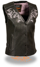 Pink reflective tribal eagle women vest - HighwayLeather