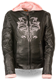 Pink Reflective Tribal Eagle Embroidery leather jacket - Reflective - highwayleather