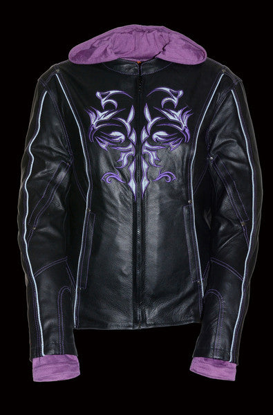 Purple Reflective Tribal Eagle Embroidery leather jacket - Reflective - highwayleather