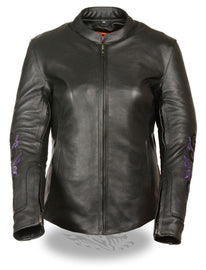 Purple butterfly embroidery leather jacket - Reflective - highwayleather