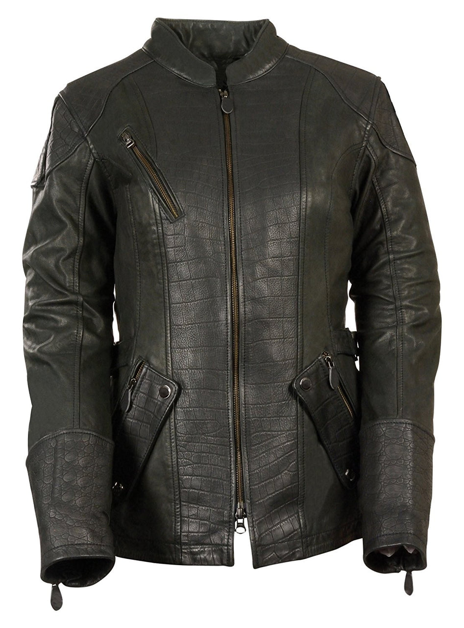 Ladies ¾ Length Stand Up Collar Embossed Print Leather Jacket - HighwayLeather