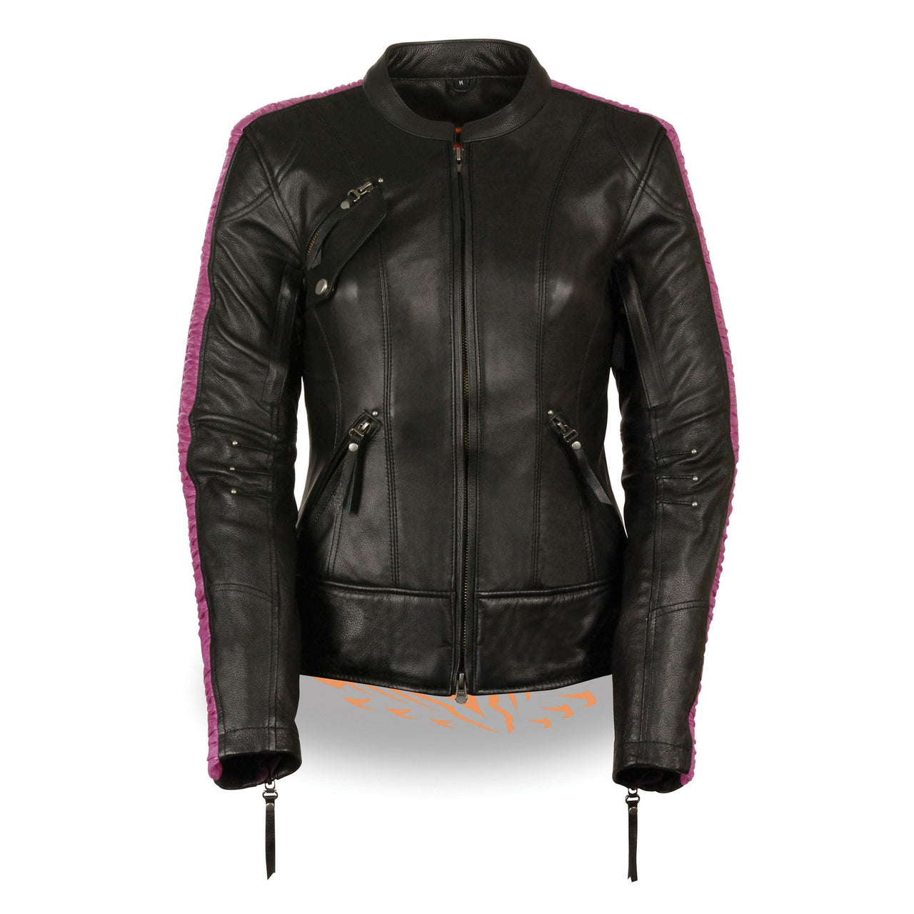 Ladies Black & Purple Racer Jacket with Phoenix Studding & Embroidery - HighwayLeather