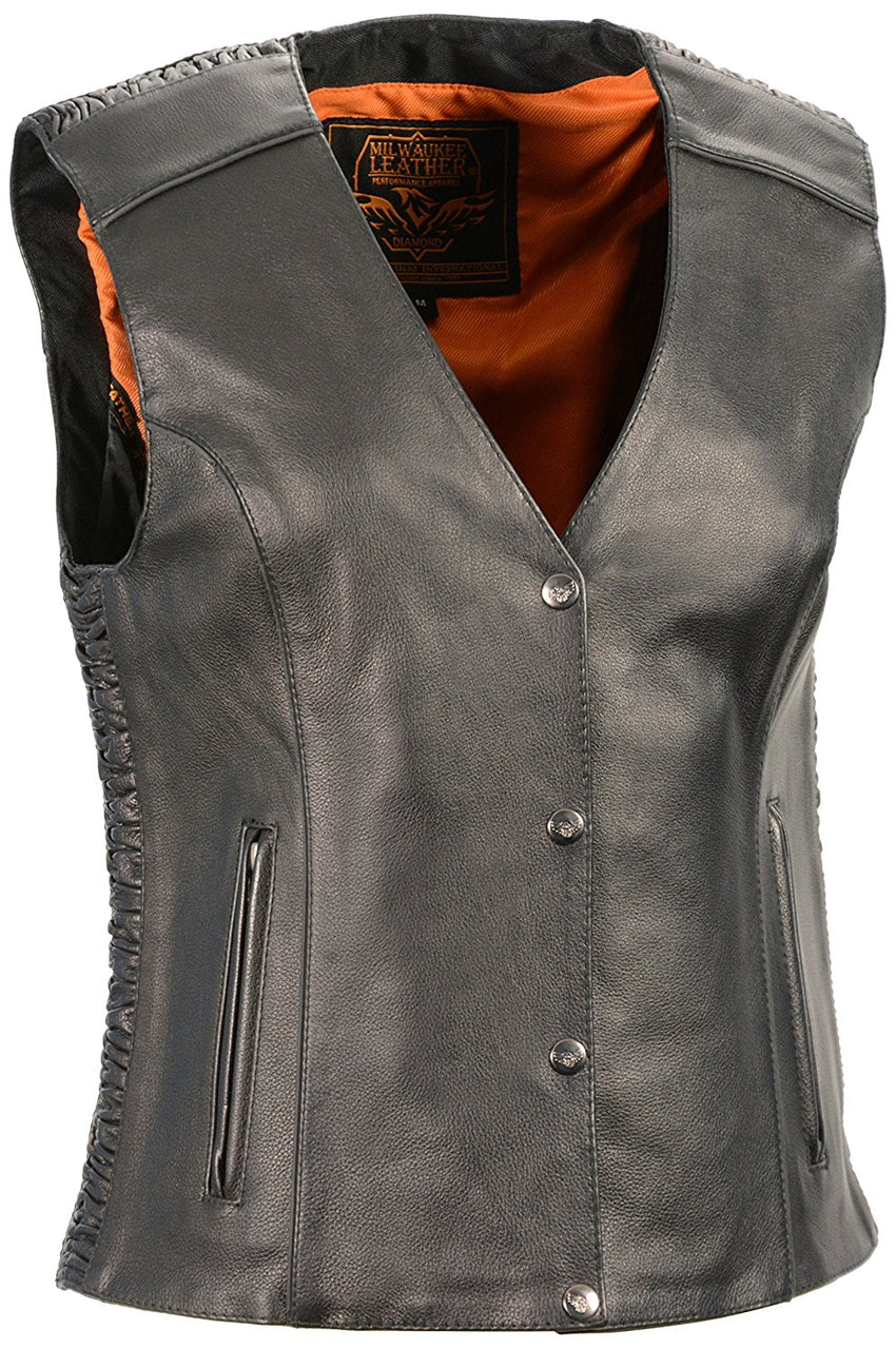 Ladies Snap Front Vest w/ Phoenix Studding and Embroidery Black - HighwayLeather