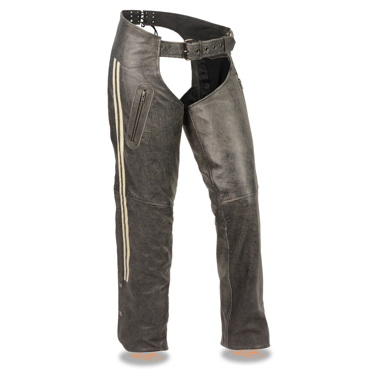 Women's Vintage Slate Chaps w/ Racing Stripes - HighwayLeather