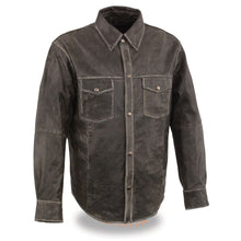 Men's Distressed Gray Lightweight Leather Snap Front club Shirt - HighwayLeather