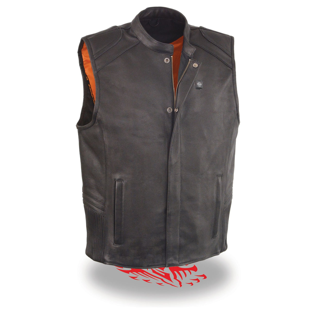 Men's Zipper Front Vest w/ Heated Technology - HighwayLeather