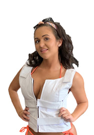 Women White Bullet proof style leather Vest for Biker club - HighwayLeather