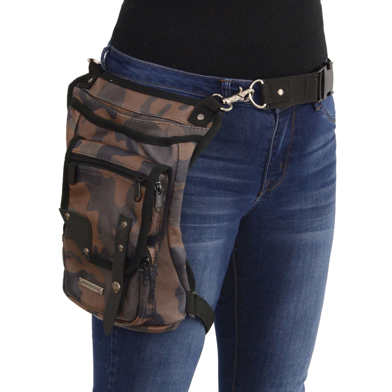 Conceal & Carry Camouflage Leather Thigh Bag w/ Waist Belt - HighwayLeather