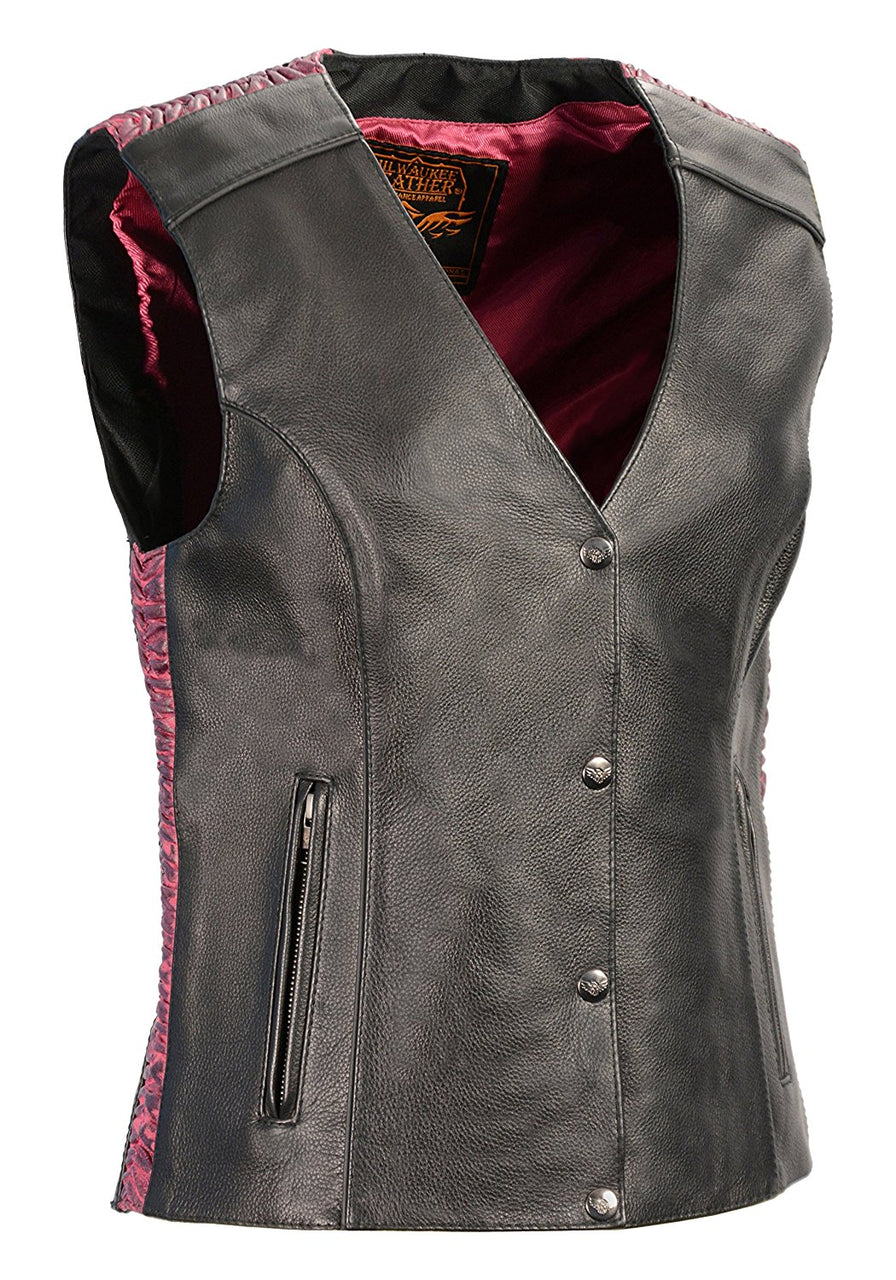 Ladies Snap Front Vest w/ Phoenix Studding and Embroidery Pink - highwayleather