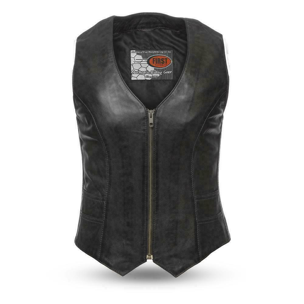 Ladies Motorcycle Leather Vest Western Style V Neck Women vest - HighwayLeather