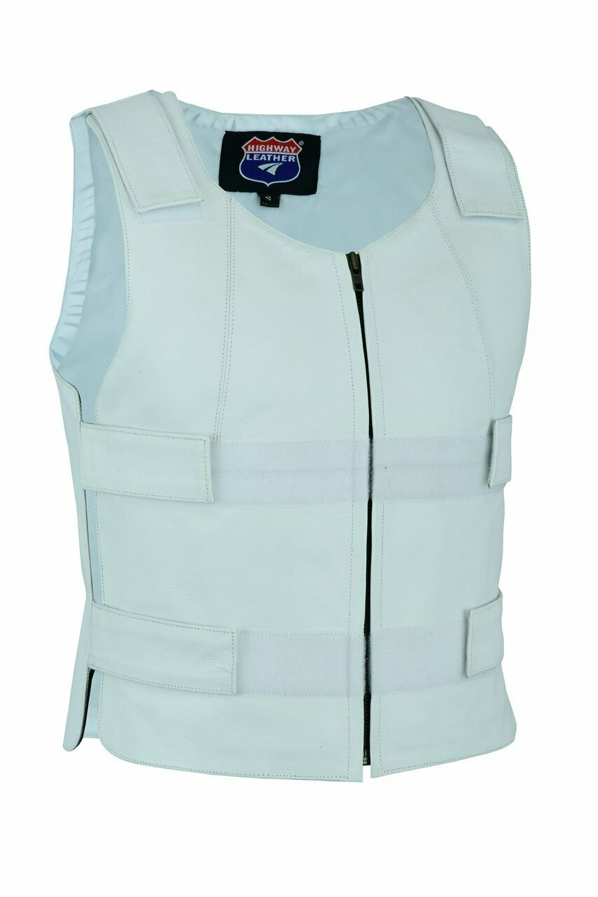 White Leather - Women Bulletproof Style Motorcycle Vest - HighwayLeather