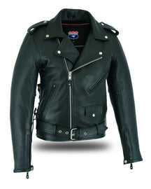 Highway Leather Old School Police Style Motorcycle Leather Jacket - HighwayLeather
