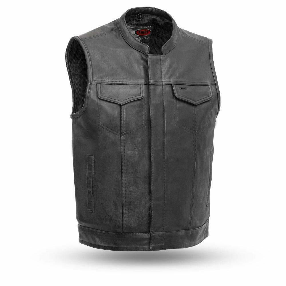 Anarchist Biker Club Leather vest with Gun pockets one piece back for patches - HighwayLeather