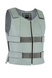 Grey bulletproof tactical street leather vest - Women - HighwayLeather