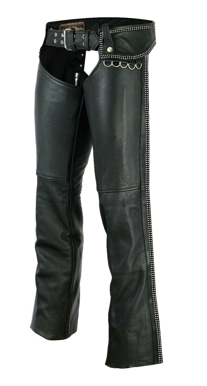 Hip Hugger Leather Chaps Bling Detailing Women Style - HighwayLeather