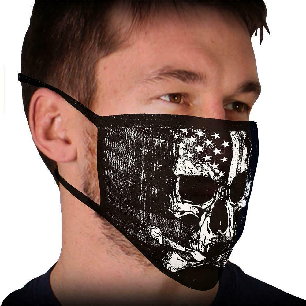 Face Mask 100% Cotton SKULL with Flag Motorcycle facemask for Bikers FMD1010 - HighwayLeather