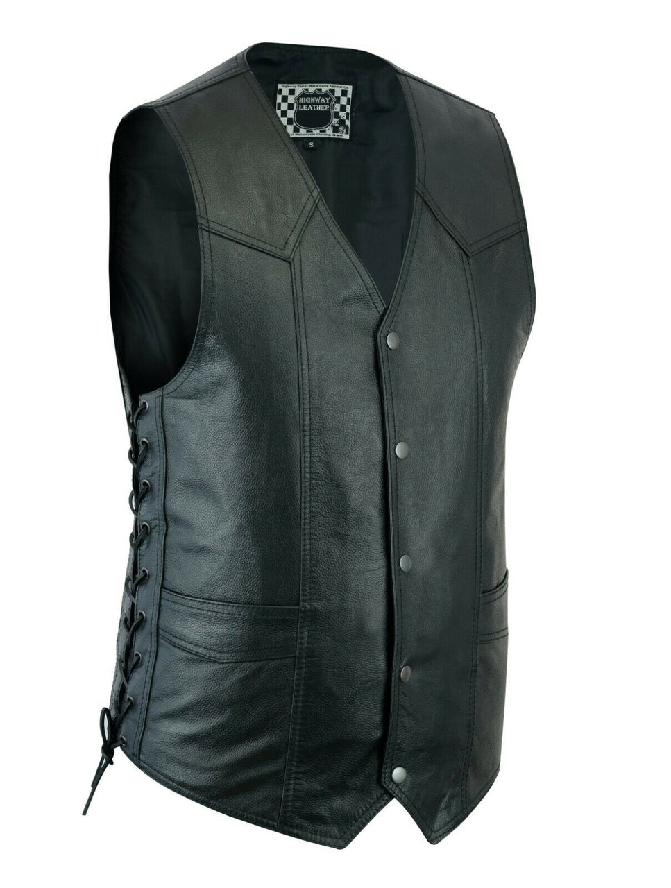 Men's Motorcycle Leather Western Vest Side Lacing - HighwayLeather