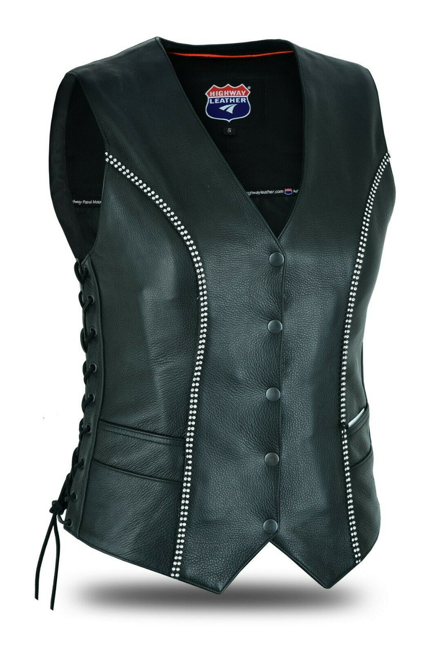 Rhinestone Leather - Women motorcycle vest Bling detail - HighwayLeather