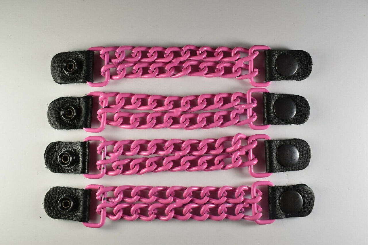 Motorcycle Leather Chain Vest Extender Biker Snap on - Extend your Vest (Pink) - HighwayLeather