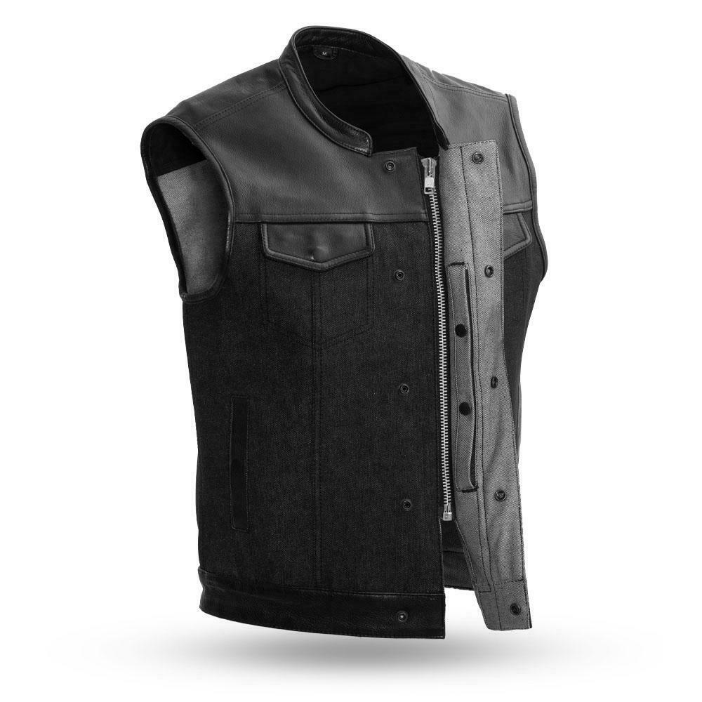 Biker Denim Club Style Vest 49/51 Leather and Denim Combo - HighwayLeather