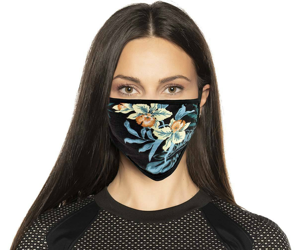 Face Mask 100% Cotton FLORAL PRINT Motorcycle facemask for Bikers MP7924FM - HighwayLeather