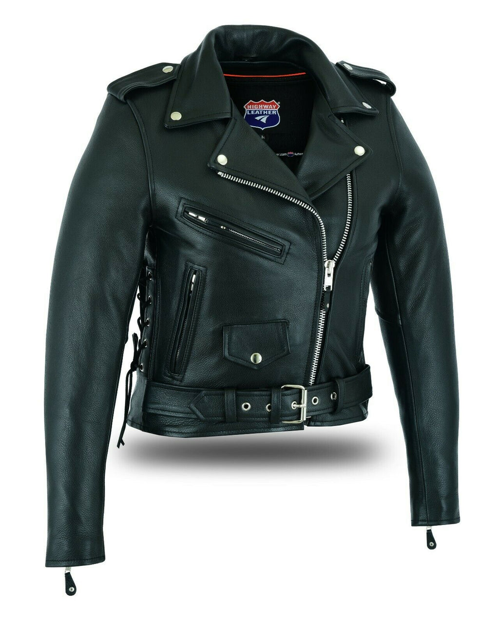 Women's Full Length Motorcycle Jacket with Side Lace - HighwayLeather