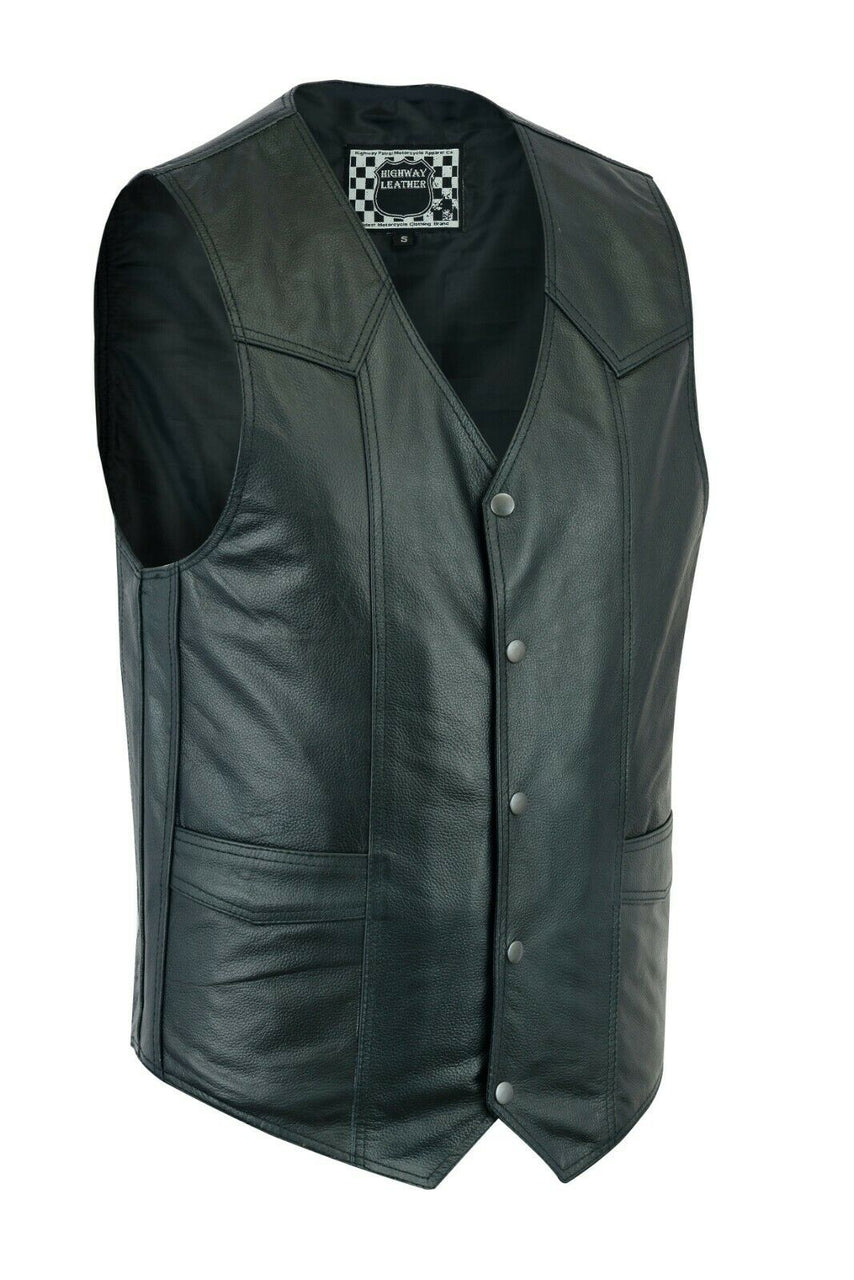 Men's Motorcycle Leather Western Vest - HighwayLeather