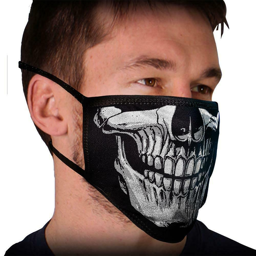 "Face Mask 100% Cotton ""SKULL FACE' Motorcycle facemask for Bikers FMD1013 - HighwayLeather"