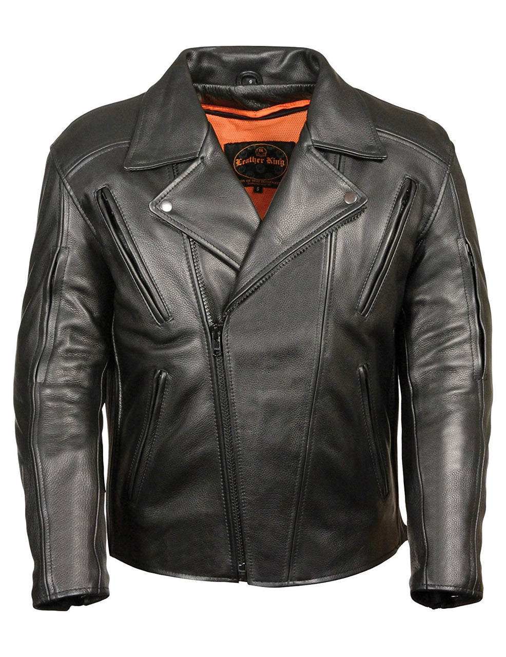 Leather King Men's Denim Vented Antique Brass Hardware Jacket - highwayleather