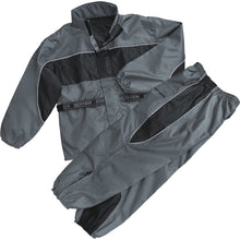 Men's Black & Gray Rain Suit Water Resistant w/ Reflective Piping - HighwayLeather