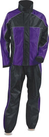 Ladies Purple & Black Rain Suit Water Proof w/ Reflective Piping - HighwayLeather