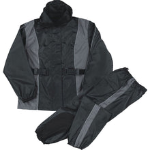 Ladies Black Waterproof Rain Suit w/ Reflective Piping & Heat Guard - HighwayLeather