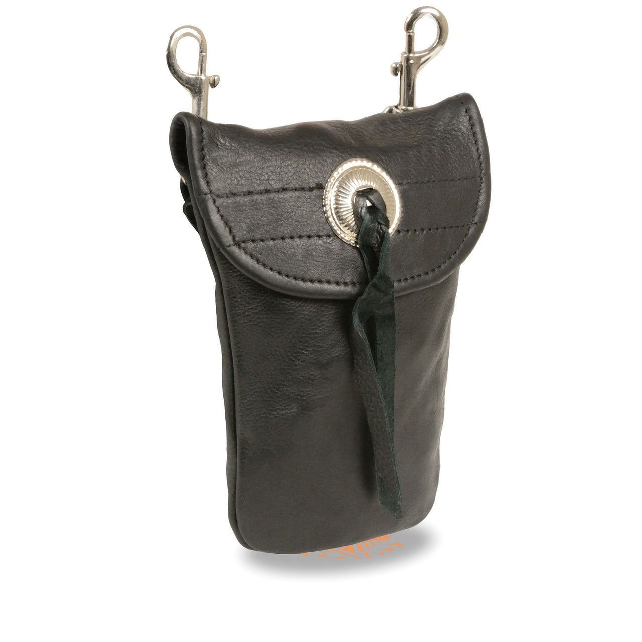Leather Belt Bag w/ Concho & Double Clasps (7.5X6) - HighwayLeather
