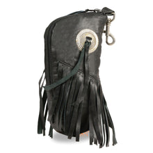 Leather Zippered Eye Glass Case w/ Fringe & Belt Clasp (7.5X6) - HighwayLeather