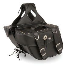 Zip-Off PVC Throw Over Saddle Bag w/ Rivets & Concho (13.5X10.5X5.5X19) - HighwayLeather
