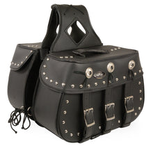 Concho design studded saddle bag - (3) strap (SH652ZB) - highwayleather