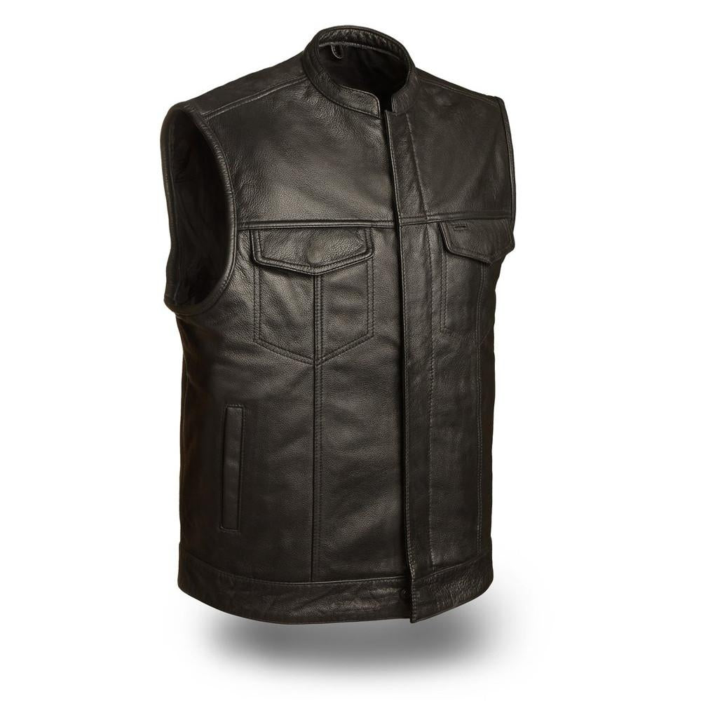 SOA Men's Basic Leather Motorcycle Vest Zipper & Snap Closure w/ 2 Inside Gun Pockets - HighwayLeather