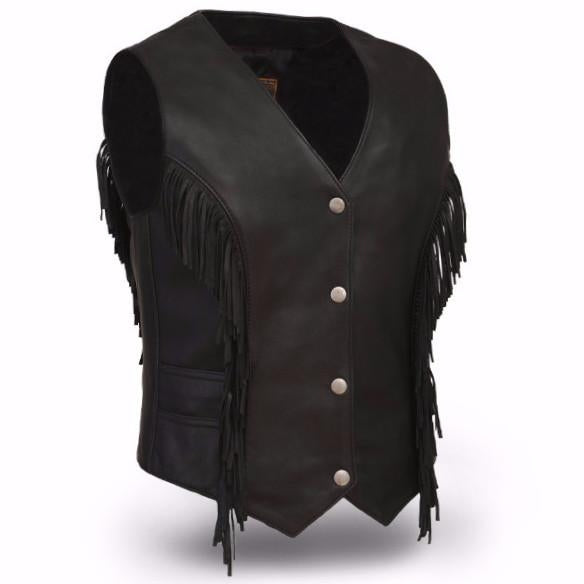 The Apache Ladies Lightweight Fringe Leather Vest Motorcycle Tassel Frill Vest Bikers  - HL14572 - HighwayLeather