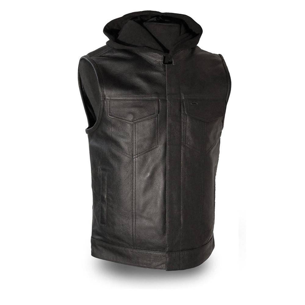 The Assassin Men's Banded Collar & Removable Hoddie Vest - HighwayLeather