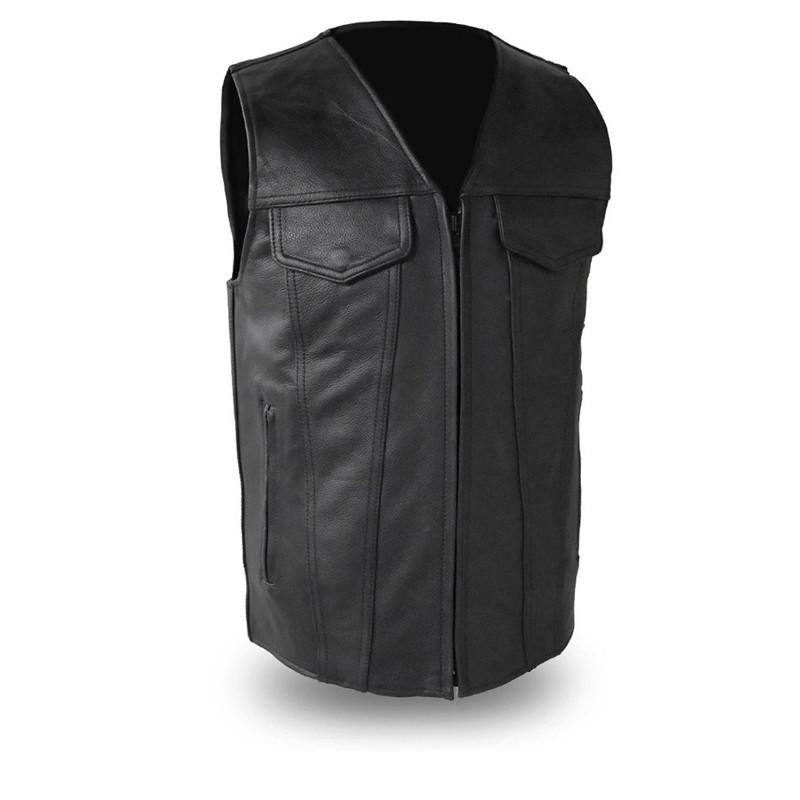 The Badlands Men's Updated Traditional Jean Style V Neck Vest - HighwayLeather