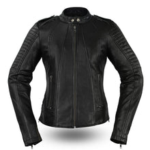 The Biker Ladies Stand Up Collar & Quilted Leather Jacket - HighwayLeather