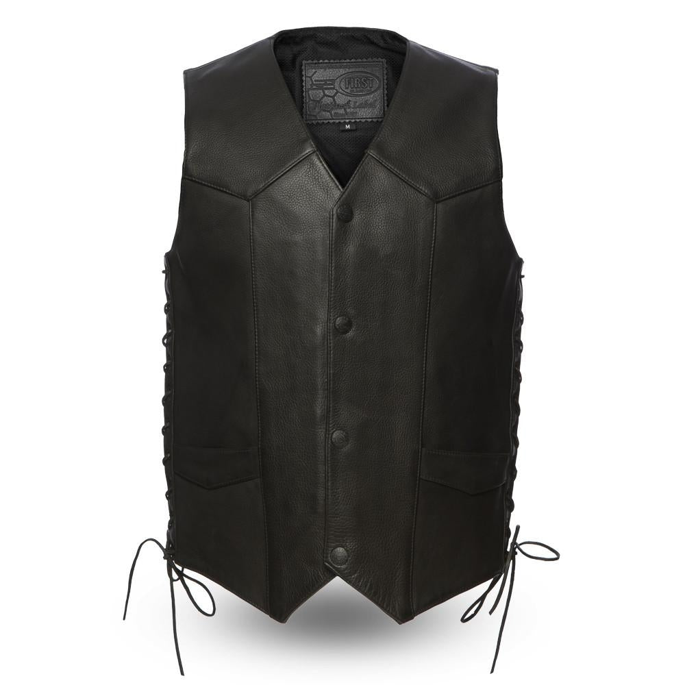 The Deadwood Men's Classic Traditional Side Laces Vest - HighwayLeather