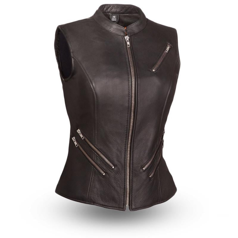 The Fairmont Ladies Five Zippered Pockets Vest - HighwayLeather