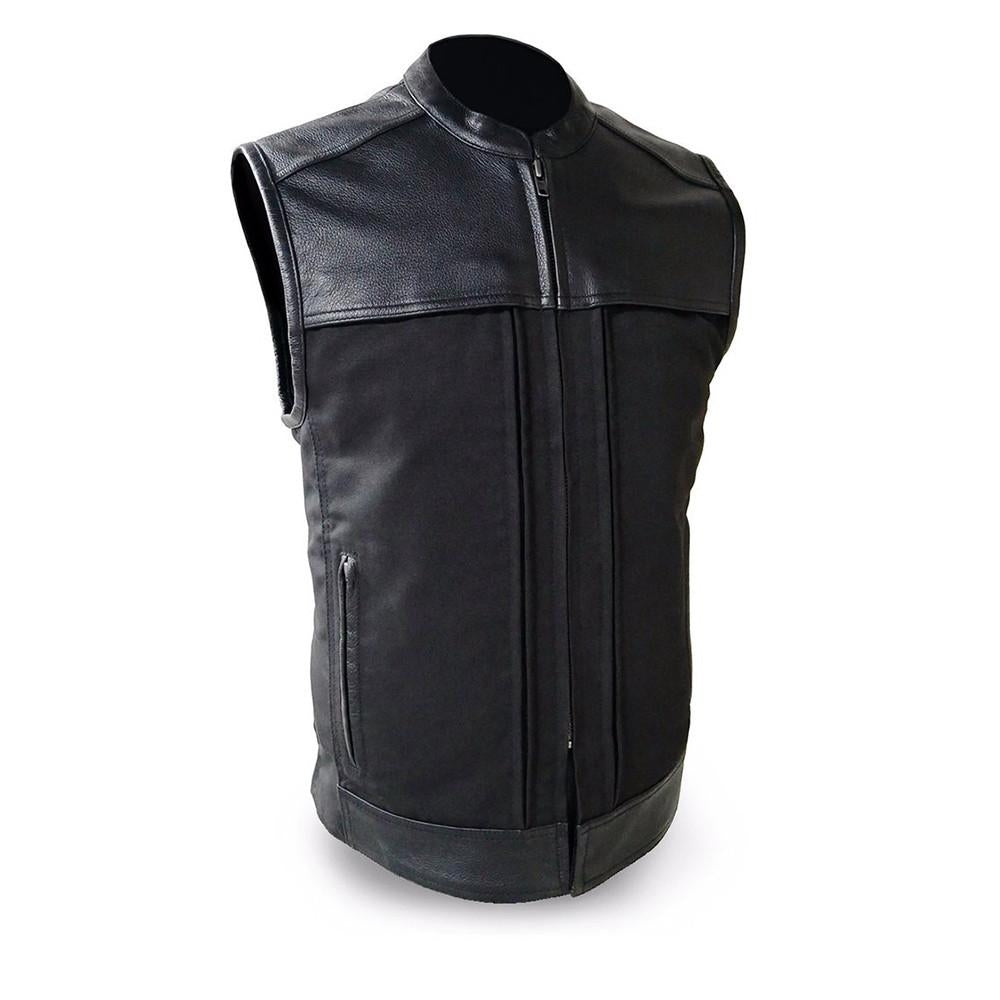 The Hideout Men's Leather & Textile Vest - HighwayLeather