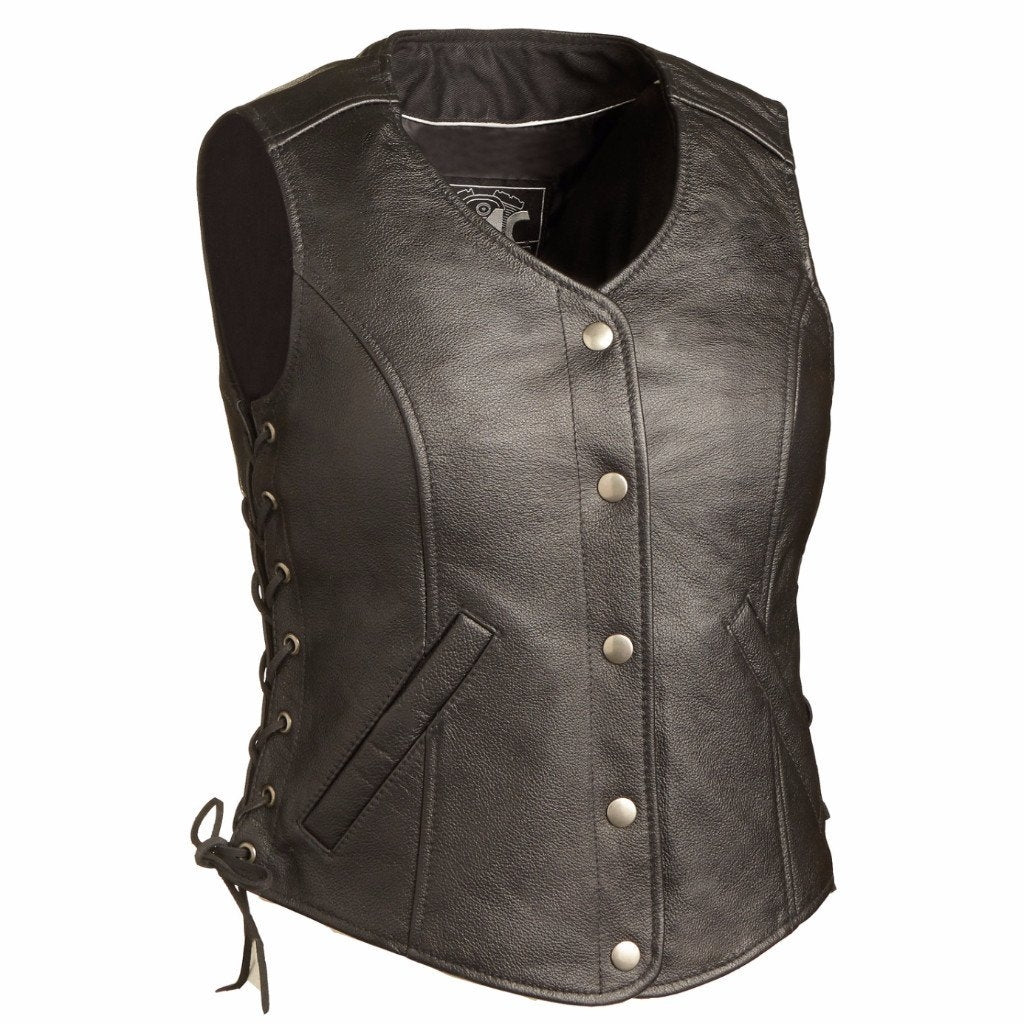 The Honey Badger Ladies Classic Five Snap with Side Laces Vest - HighwayLeather