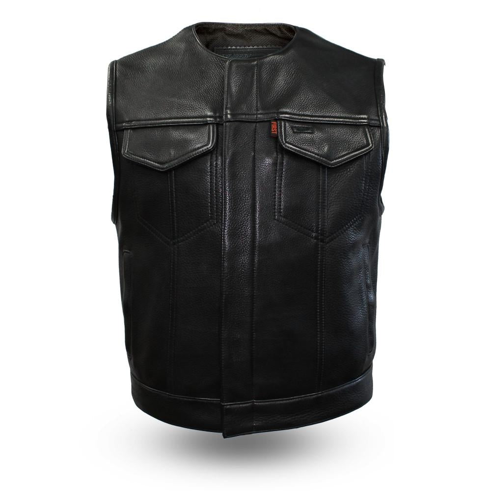 The LOWSIDE Men's Motorcycle Leather Vest - highwayleather